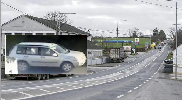Scene: Community alerts were sent after the incident which involved a stolen Nissan 4x4 (inset)