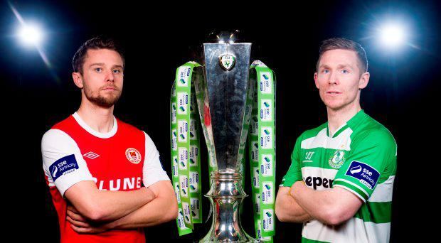 Ger O'Brien, St. Patrick's Athletic, and Conor Kenna, Shamrock Rovers, both teams will play each other on the opening day of the 2015 SSE Airtricity league season