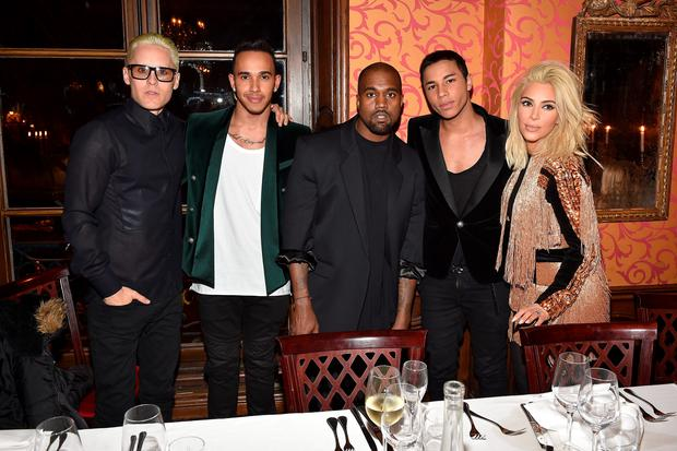 PARIS, FRANCE - MARCH 05: (L-R) Jared Leto, Lewis Hamilton, Kanye West, Olivier Rousteing, Kim Kardashian attend the Balmain Aftershow Dinner as part of the Paris Fashion Week Womenswear Fall/Winter 2015/2016 on March 5, 2015 in Paris, France.