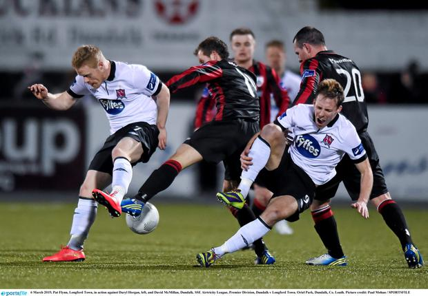 6 March 2015; Pat Flynn, Longford Town, in action against Daryl Horgan, left, and David McMillan, Dundalk. SSE Airtricity League, Premier Division, Dundalk v Longford Town. Oriel Park, Dundalk, Co. Louth. Picture credit: Paul Mohan / SPORTSFILE