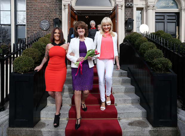 Incoming TCD SU President Lynn Ruane with Tánaiste Joan Burton and RTÉ broadcaster Miriam O'Callaghan at the Shelbourne Hotel for An Cosán International Women's Day lunch