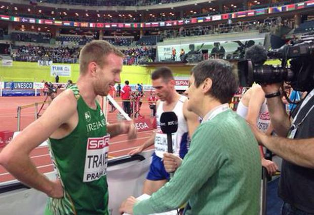 John Travers speaking after qualifying for the 1500m final at the European Indoor Championships in Prague.