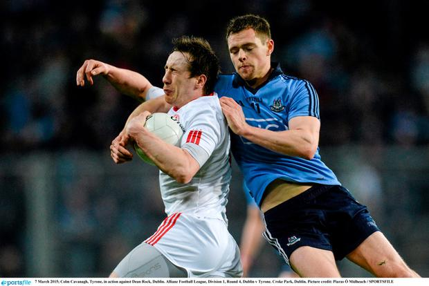 Colm Cavanagh, Tyrone, in action against Dean Rock, Dublin.