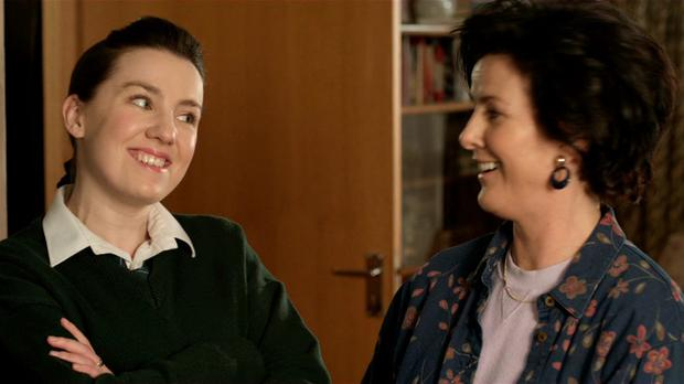 Clare Monnelly as Fidelma in Moone Boy with Deirdre O'Kane