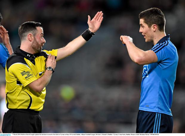 7 March 2015; Referee David Gough explains his decision to award a free kick to Tyrone to Rory O'Carroll, Dublin. Allianz Football League, Division 1, Round 4, Dublin v Tyrone, Croke Park, Dublin. Picture credit: Brendan Moran / SPORTSFILE