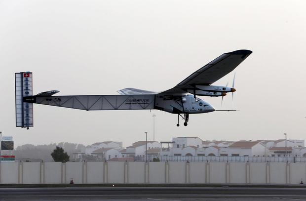 The Solar Impulse 2 takes off at Al Bateen airport in Abu Dhabi, at the start of an attempt to fly around the world in the solar-powered plane REUTERS/Ahmed Jadallah