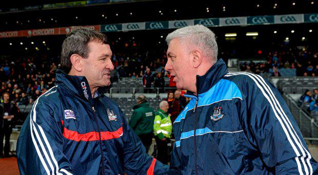 7 March 2015; Dublin manager Ger Cunningham shakes hands with Cork manager Jimmy Barry Murphy after the game. Allianz Hurling League, Division 1A, Round 3, Dublin v Cork. Croke Park, Dublin. Picture credit: Piaras ? M?dheach / SPORTSFILE