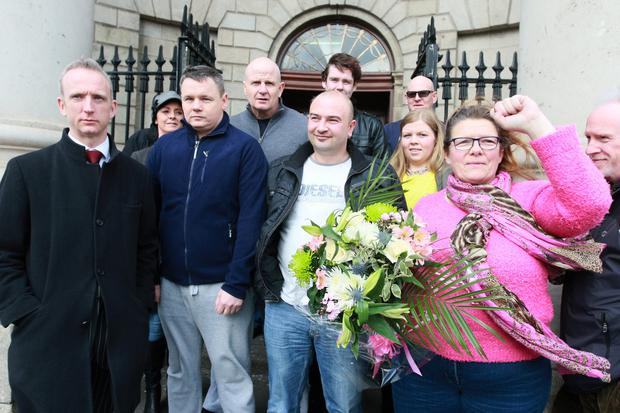 Solicitor Cahir O Higgins (extreme left of pic) with water protesters Paul Moore (navy top), Damien O'Neill (grey top) Derek Byrne (white t-shirt) and Bernie Hughes (right) pictured after the four jailed protesters were released following a High Court action
