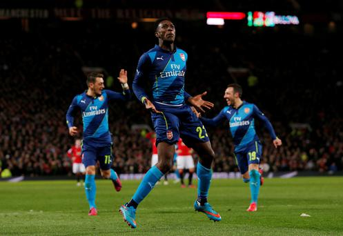 Arsenal's Danny Welbeck celebrates scoring their second goal against Manchester United