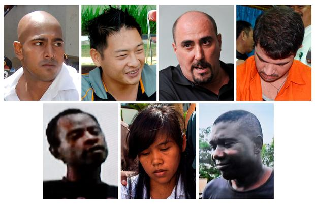 In this file combo photographs, seven foreign death row prisoners in Indonesia await execution by firing squad in Nusakambangan prison island. Top row from left, Australians Myuran Sukumaran and Andrew Chan, Frenchman Serge Atlaoui and Brazilian Rodrigo Gularte. Bottom row from left. Nigerian Raheem Agbaje Salami, Filipina Mary Jane Fiesta Veloso, and Nigerian Silvester Obiekwe Nwolise. AFP PHOTO / JEWEL SAMAD / SONNY TUMBELAKA / BAY ISMOYO / METRO TV / SURYO WIBOWOJEWEL SAMAD,SONNY TUMBELAKA,STR,BAY ISMOYO,METRO TV,SURYO WIBOWO/AFP/Getty Images
