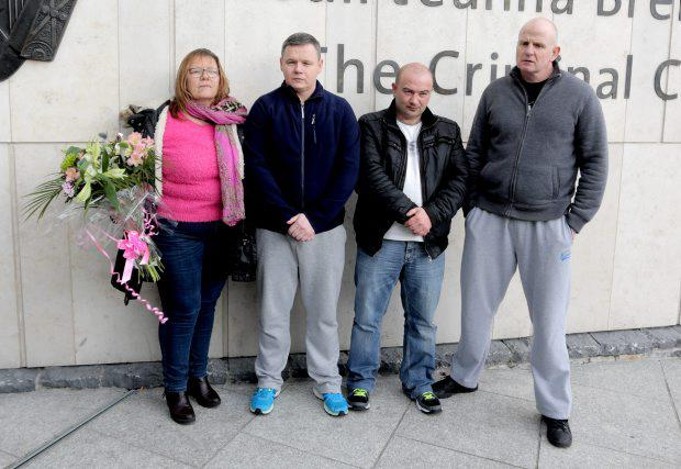 Irish Water protesters Bernie Hughes, Paul Moore, Derek Byrne and Damien ONeill outside court yesterday after they where freed from jail by the President of the High Court after he upholded a challenge to the legality of a committal warrant grounding their detention