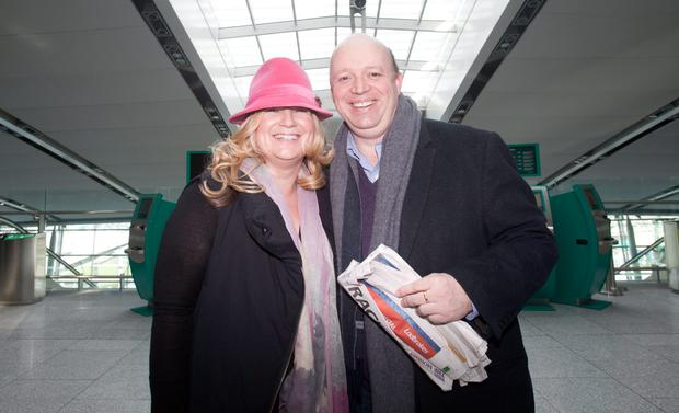 09/03/2015 Cheltenham fans (L to r) Tanya Kenny & Daniel Watkins both from Kilmainham at Dublin Airport before flying off to the Cheltenham racing festival in the UK. Photo: Gareth Chaney Collins