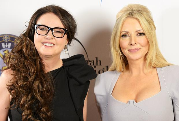 Sarah Brightman(L) and Carol Vorderman attend a photocall to announce Sarah's forthcoming trip to the International Space Station at Ham Yard Hotel on March 10, 2015 in London, England
