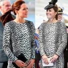 Kate Middleton recycling her dress today (left) and in 2013 (right)