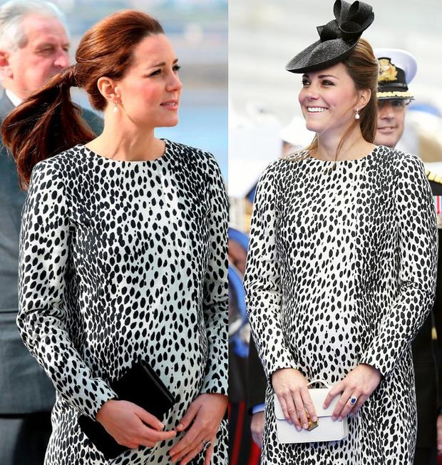 ec990ee54afa9 Savvy Kate Middleton recycles animal print coat dress from first ...