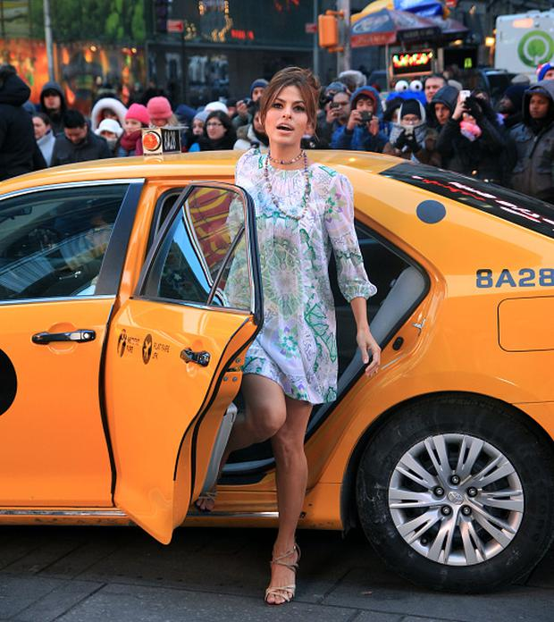 Eva Mendes Filming a commercial for her design label Nyc & Co in Times Square on March 3, 2015 in New York City. (Photo by Steve Sands/GC Images)