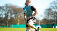 Ireland's No 8, Jamie Heaslip, has overcome three cracked vertebrae against France a month ago to return to the side