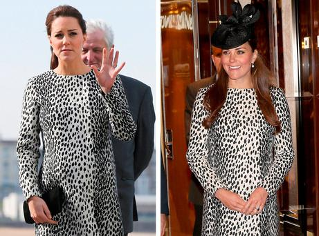 Kate Middleton wearing a Hobbs dalmatian print mac coat on her visit to Margate yesterday (left) and wearing the same coat during her tour of the Royal Princess cruise ship, her last official visit before giving birth to Prince George in 2013