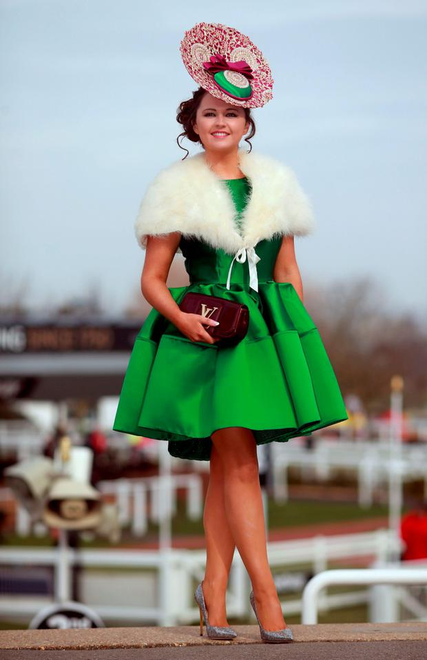 Jennifer Wrynne from Mohill County Leitrim on Ladies Day during the Cheltenham Festival at Cheltenham Racecourse