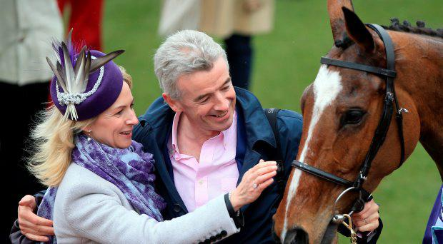 Owner Michael O'Leary and wife Anita Farrell celebrate with winning horse Don Poli