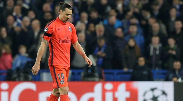 PSG's Zlatan Ibrahimovic leaves the field after getting a red card