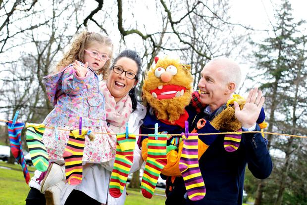 Ray D'Arcy and Socky Reunite to launch World Down Syndrome Day pictured with Roisin Killon and Lilly May Killion- 3 years old from Tyrrelstown.