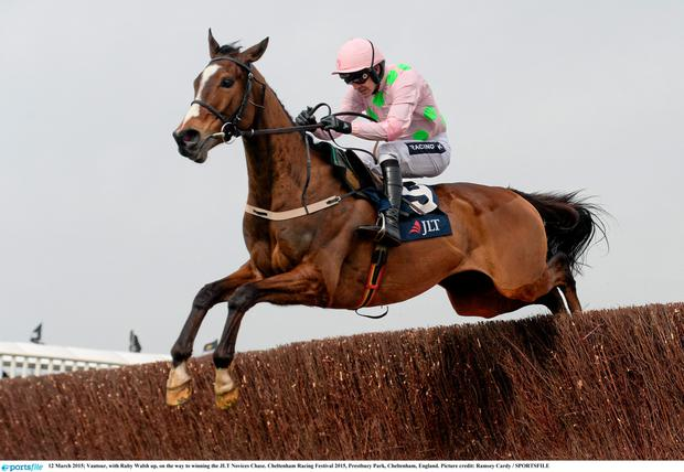 Vautour, with Ruby Walsh up, on the way to winning the JLT Novices Chase. Cheltenham Racing Festival 2015, Prestbury Park, Cheltenham, England. Picture credit: Ramsey Cardy / SPORTSFILE