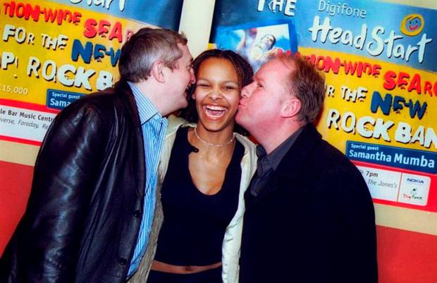 Samantha Mumba got a kiss from her manager Louis Walsh and MC Tony Fenton at the first heat of the Digifone Headstart competition in which five bands competed.