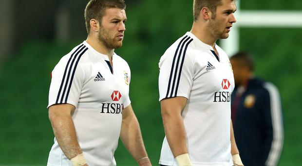 They became firm friends on a Lions tour, but back-row behemoths Dan Lydiate (R) and Sean O'Brien will be keen rivals in the Millennium Stadium tomorrow.