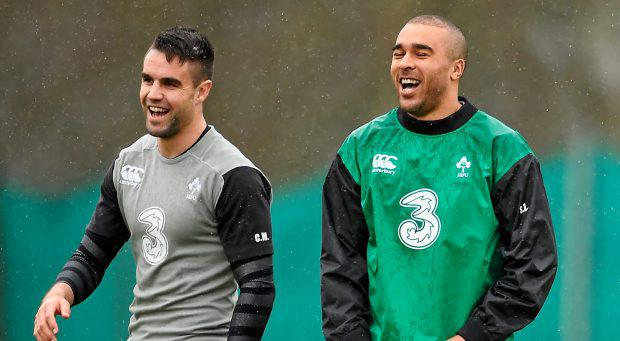 Ireland's Conor Murray, left, with Simon Zebo during squad training. Carton House, Maynooth, Co. Kildare