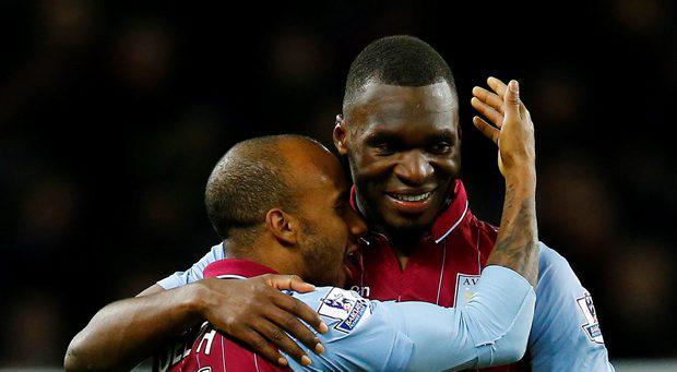 Aston Villa's Christian Benteke and Fabian Delph celebrate at the end of the match