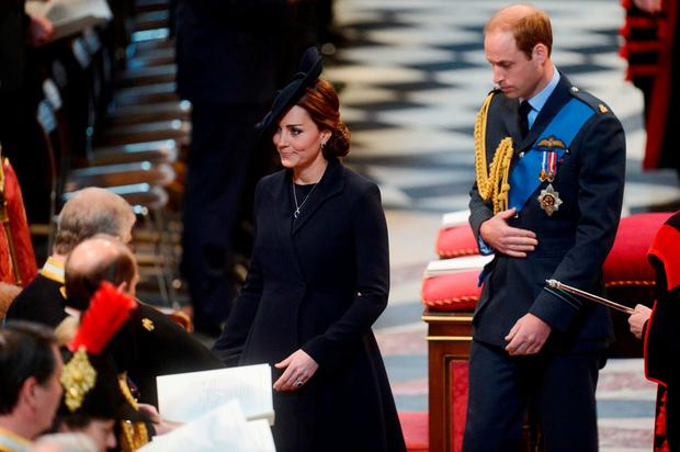 The Duke and Duchess of Cambridge arriving for a commemoration service to mark the end of combat operations in Afghanistan at St Paul's Cathedral, London