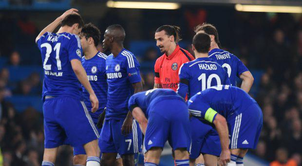 PSG's Zlatan Ibrahimovic looks dejected after being sent off