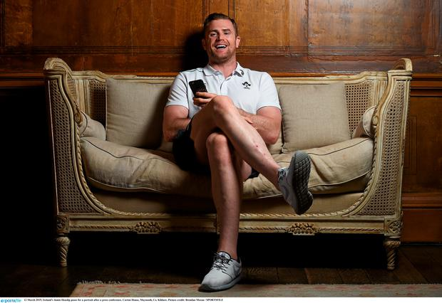 Ireland's Jamie Heaslip poses for a portrait after a press conference