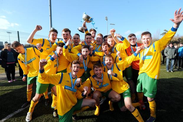 11 Mar 2015; Colaiste Eanna CBS celebrate with the cup. St. Joseph's College. Bank of Ireland FAI Schools Dr. Tony O'Neill All Ireland Senior Cup Final (U20); Colaiste Eanna CBS, Rathfarnham, v St. Joseph's College, Galway. Athlone I.T., Athlone, Co Westmeath. Picture: Caroline Quinn / www.cquinnphotography.com