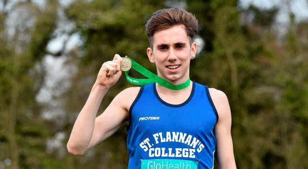 Kevin Mulcaire, St Flannan's, Ennis, after winning the Senior Boy's event at the GloHealth All Ireland Schools Cross Country Championship