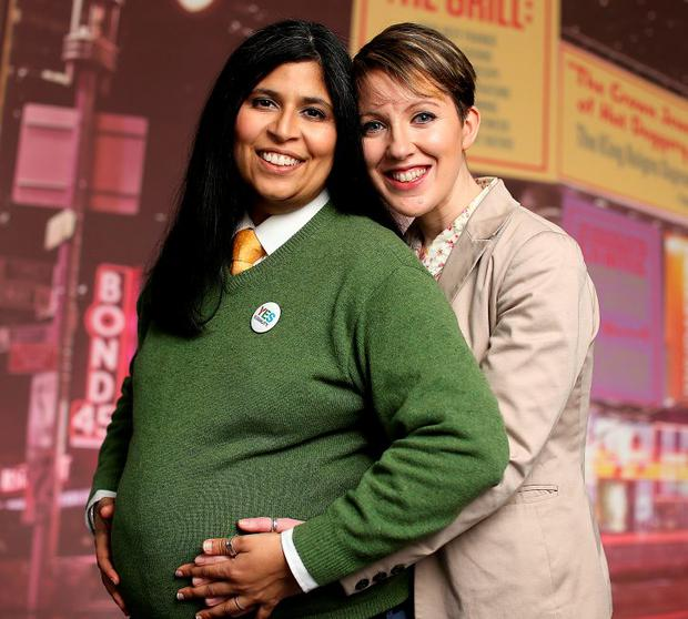 Over the moon: Dil Wickremasinghe and Ann Marie Toole are having their first baby together in June. Photo: Gerry Mooney.