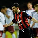 Anto Murphy celebrates after firing Bohemians into the lead