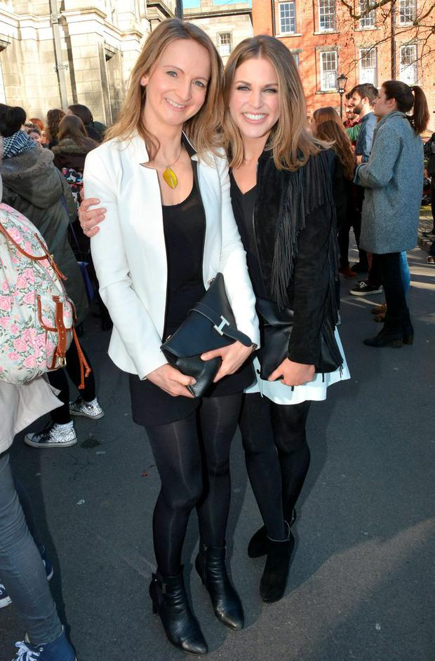 Actress Amy Huberman meets her idol, Parks and Recreation star Amy Poehler. The US star was in Trinity College to receive a Gold Medal of Honorary Patronage from the University's Philosophy Society