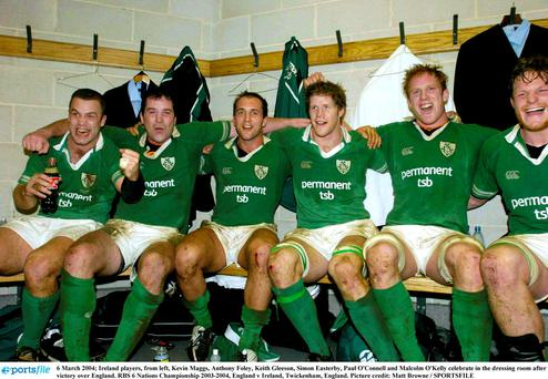 Ireland players, from left, Kevin Maggs, Anthony Foley, Keith Gleeson, Simon Easterby, Paul O'Connell and Malcolm O'Kelly celebrate in the dressing room after victory over England in the RBS 6 Nations Championship in 2004 at Twickenham. Picture credit: Matt Browne / SPORTSFILE