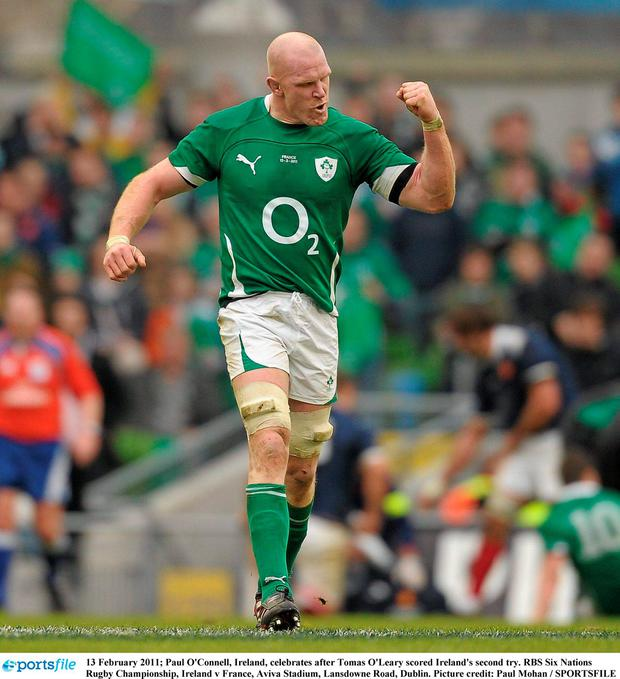 13 February 2011; Paul O'Connell, Ireland, celebrates after Tomas O'Leary scored Ireland's second try. RBS Six Nations Rugby Championship, Ireland v France, Aviva Stadium, Lansdowne Road, Dublin. Picture credit: Paul Mohan / SPORTSFILE