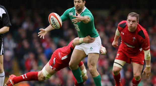 Rugby Union - Wales v Ireland - RBS Six Nations Championship 2015 - Millennium Stadium, Cardiff, Wales - 14/3/15 Ireland's Rob Kearney in action with Wales' Alun Wyn Jones Action Images via Reuters / Paul Childs Livepic EDITORIAL USE ONLY.