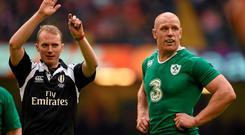 Referee Wayne Barnes during Ireland's defeat to Wales in this year's Six Nations