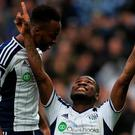 West Bromwich Albion's Brown Ideye celebrates scoring the opening goal with West Bromwich Albion's Saido Berahino during the Barclays Premier League match at The Hawthorns, West Bromwich. PRESS ASSOCIATION Photo. Picture date: Saturday March 14, 2015. See PA Story SOCCER West Bromwich. Photo credit should read: Nick Potts/PA Wire. RESTRICTIONS: Editorial use only. Maximum 45 images during a match. No video emulation or promotion as 'live'. No use in games, competitions, merchandise, betting or single club/player services. No use with unofficial audio, video, data, fixtures or club/league logos.