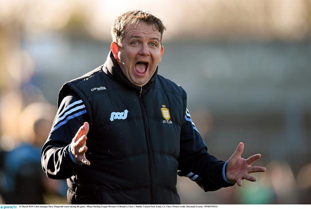 14 March 2015; Clare manager Davy Fitzgerald reacts during the game. Allianz Hurling League Division 1A Round 4, Clare v Dublin. Cusack Park, Ennis, Co. Clare. Picture credit: Diarmuid Greene / SPORTSFILE