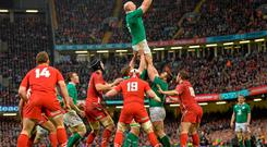 14 March 2015; Paul O'Connell, Ireland, wins a lineout against Wales. RBS Six Nations Rugby Championship, Wales v Ireland, Millennium Stadium, Cardiff, Wales. Picture credit: Brendan Moran / SPORTSFILE
