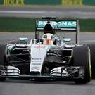Lewis Hamilton on his way to pole for the Australian Grand Prix