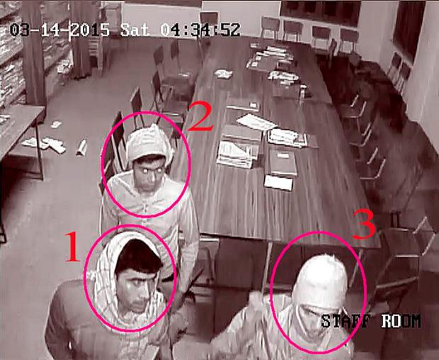 A still image taken from CCTV footage provided by the West Bengal Police on March 15, 2015 shows three men who police said are suspects in a case where a nun was raped when a group of about five intruders broke into a convent school in the eastern Indian city of Ranaghat March 14