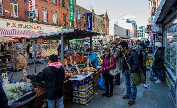 Traders on Dublin's Moore Street.