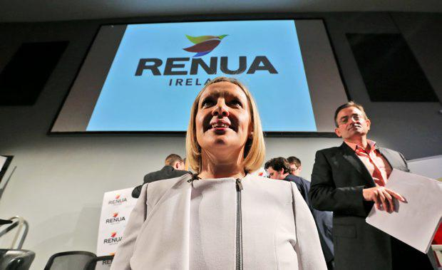 Lucinda Creighton and Eddie Hobbs pictured at the launch of her new political party, Renua at the Science Gallery, Pearse Street, Dublin this morning